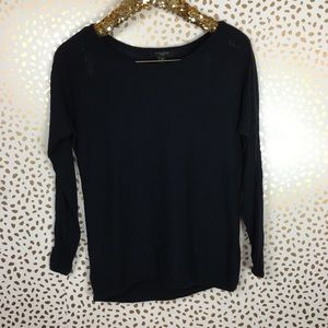 Ann Taylor Faux Leather Trim Sweater